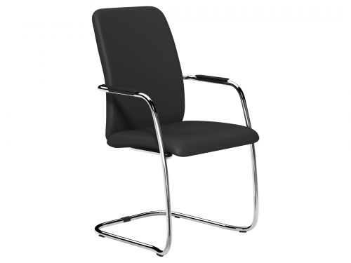 O.Q Series High Back Stacking Chair Chrome - Lotus Black L001
