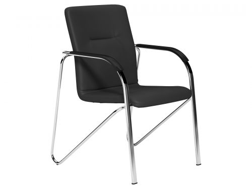 O.SANDY Series Chair Chrome Frame Black Wooden Arms - Lotus Black L001