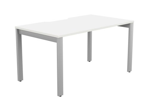 Switch 1 Person Bench Open Leg Scallop Top 1400 x 800 - Silver Frame / White Top