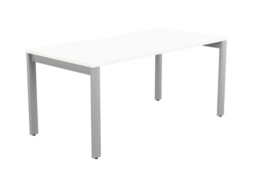 Switch 1 Person Bench Open Leg Scallop Top 1600 x 800 - Silver Frame / White Top