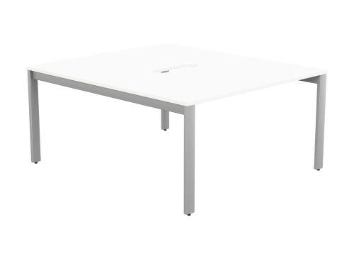 Switch 2 Person Bench Open Leg Scallop Top 1400 x 800 - Silver Frame / White Top