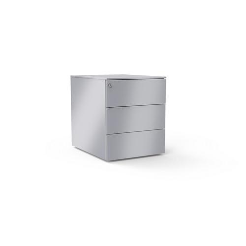 3 drawers pedestal W. 420 mm alu grey