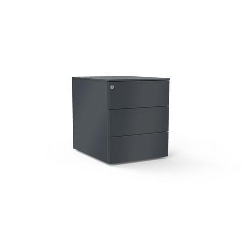 3 drawers pedestal W. 420 mm graphite grey