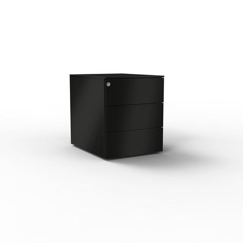 3 drawers pedestal W. 420 mm black