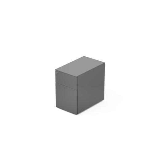 2 drawers pedestal W. 320 mm alu grey