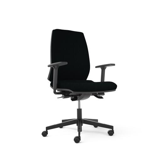 Opus chair - black seat with fabric backrest