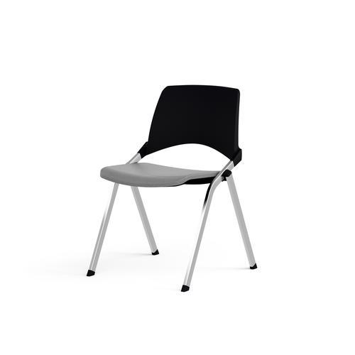 Emi Fixed Black Polypropylene Back Chair Storm Grey Fabric