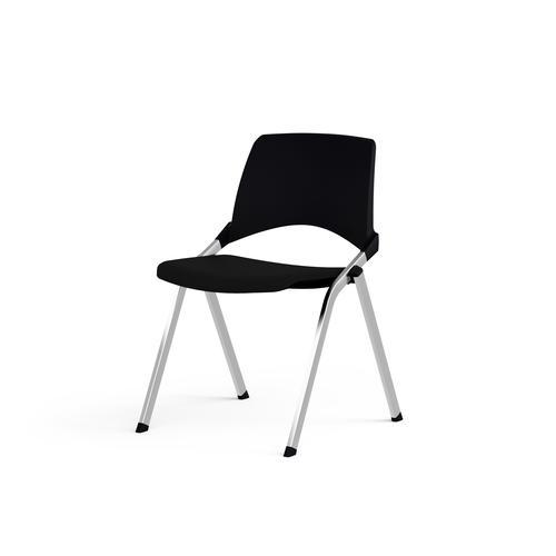 Emi Fixed Black Polypropylene Back Chair Black Fabric