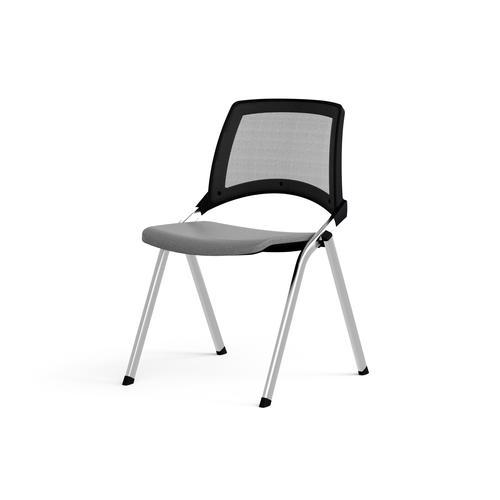 Emi Fixed Black Mesh Back Chair