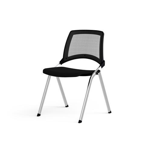 Emi Fixed Black Mesh Back Chair Black Fabric Seat