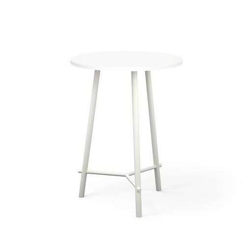 Clara table in white laminate diameter 800 mm H. 1095