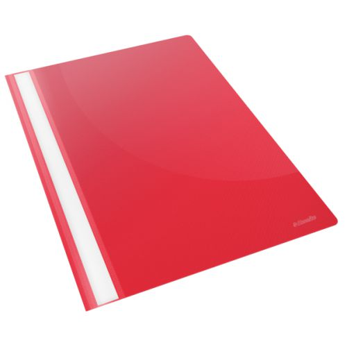 Esselte Vivida Report Flat Bar File Polypropylene Clear Front A4 Red Ref 28316 [Pack 25]