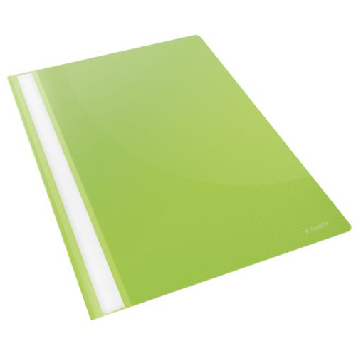 Esselte Vivida Report Flat Bar File Polypropylene Clear Front A4 Green Ref 28317 [Pack 25]