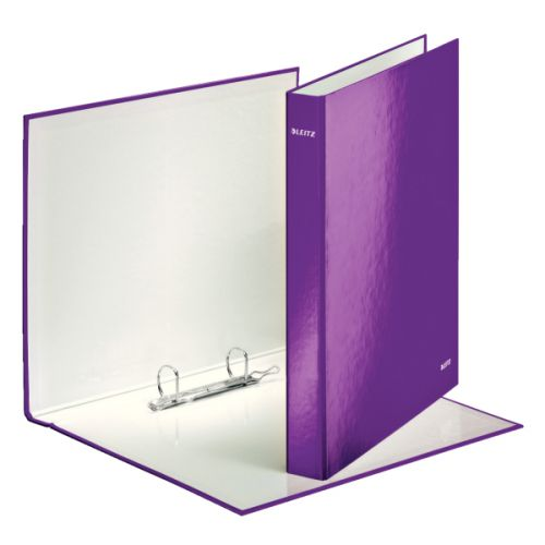 Leitz WOW Ring Binder Laminated Paper on Board 2 D-Ring A4 25mm Rings Purple (Pack 10)