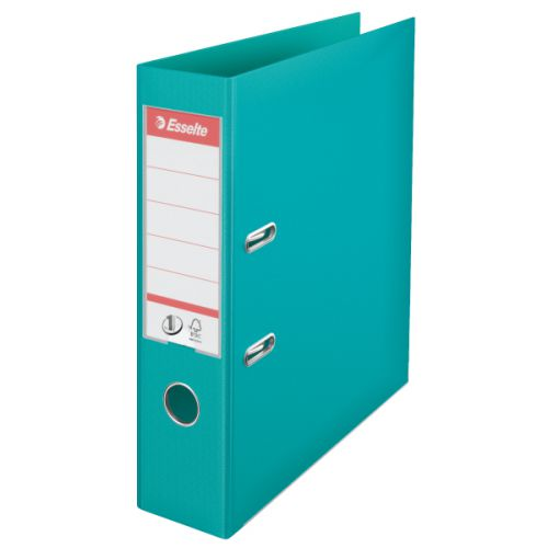 Esselte No.1 Lever Arch File Polypropylene A4 75mm Spine Width Turquoise (Pack 10)