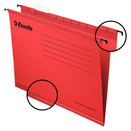Esselte Pendaflex Plus Suspension File Manilla Cap 15mm V-base 210gsm FC Red Ref 90336 [Pack 25]