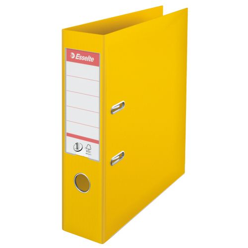 Esselte FSC No. 1 Power Lever Arch File PP Slotted 75mm Spine A4 Yellow Ref 811310 [Pack 10]