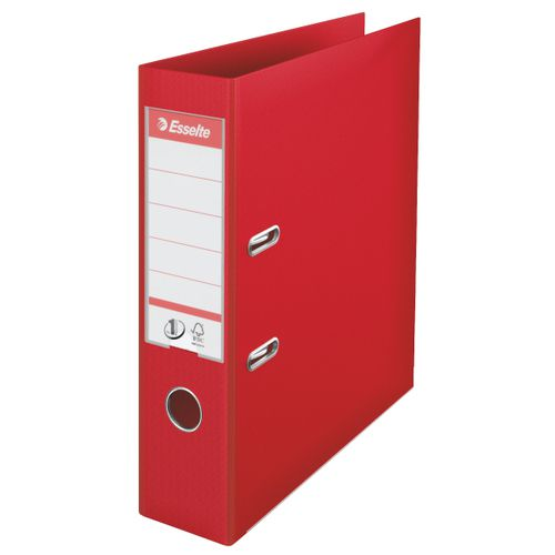 Esselte FSC No. 1 Power Lever Arch File PP Slotted 75mm Spine A4 Red Ref 811330 [Pack 10]