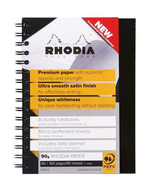 Rhodia Hardback Business Wirebound Notebook A4 Black PK3