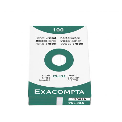 Exacompta Record Cards Lined 75x125mm White 13801X (PK125)
