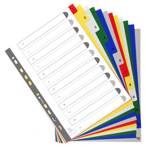 Exacompta PP A4 Index 1-12 Coloured Tabs