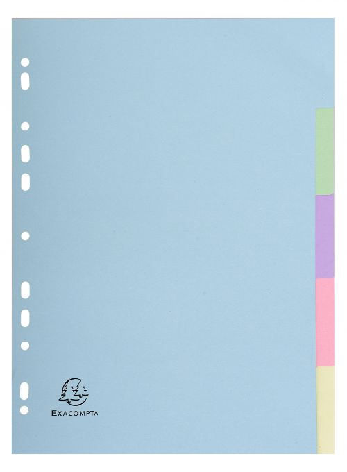 Exacompta Forever Recycled Divider 5 Part A4 170gsm Card Assorted Colours