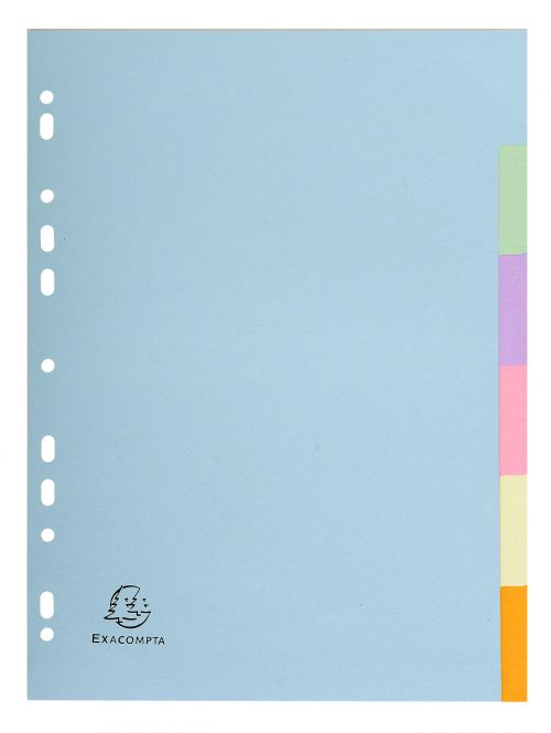 Exacompta Forever Recycled Divider 6 Part A4 170gsm Card Assorted Colours