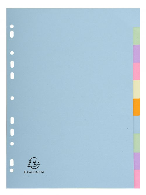 Exacompta 10 Part Coloured Recycled Plain Dividers
