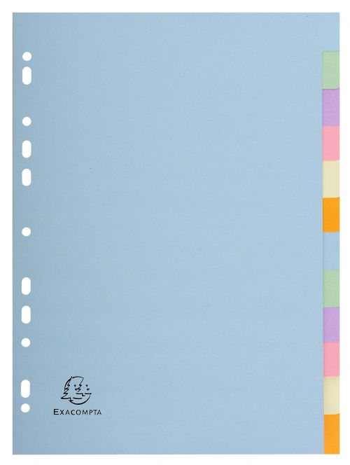 Exacompta Forever Recycled Divider 12 Part A4 170gsm Card Assorted Colours