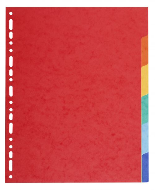 Exacompta Forever Recycled Divider 6 Part A4 Extra Wide 220gsm Card Vivid Assorted Colours