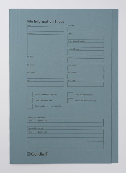 Guildhall Pre-printed Square Cut Folder Blue - Pack of 100