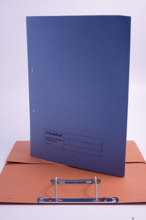 Exacompta Guildhall Heavyweight Transfer Spiral Pocket File 420gsm FC Blue (Pack of 25) 211/6000