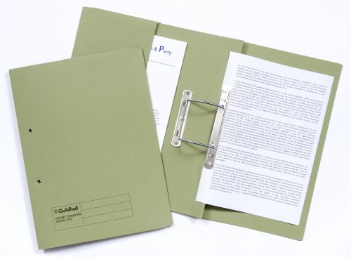 Guildhall Transfer Spring File 420gsm Front Pocket Foolscap Green 211/6002Z [Pack 25]