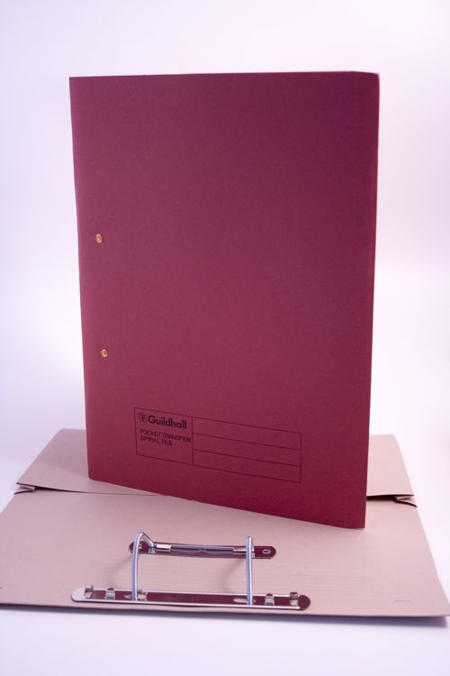 Exacompta Guildhall Heavyweight Transfer Spiral Pocket File 420gsm FC Red (Pack of 25) 211/6005