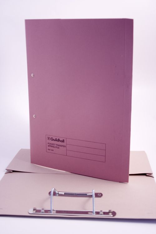 Exacompta Guildhall Heavyweight Transfer Spiral Pocket File 420gsm FC Pink (Pack of 25) 211/6006