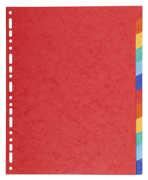 Exacompta Forever Recycled Divider 12 Part A4 Extra Wide 220gsm Card Vivid Assorted Colours