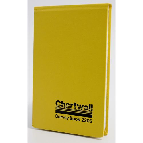 Chartwell Survey Field Book Weather Resistant 106x165mm Lined with 2 Red Centre Lines 160 Pages Yellow 2206Z