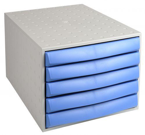Exacompta The Box Closed Light Grey/Ice Blue