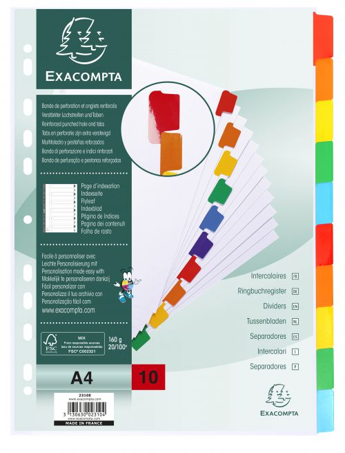Exacompta Divider 10 Part A4 160gsm Card White with Coloured Mylar Tabs