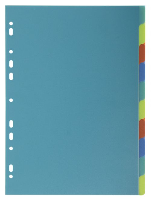 Exacompta Forever Recycled Divider 10 Part A4 300 Micron Polypropylene Assorted Colours