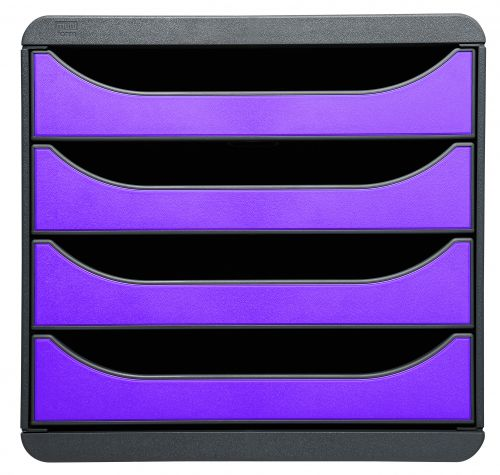 Exacompta Iderama Big Box 4 Drawer Set Purple 310720D