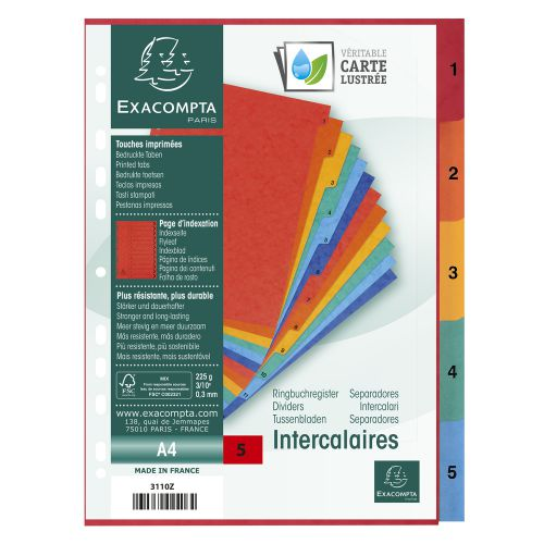 Exacompta Europa Coloured Pressboard Index 1-5 A4 3110Z