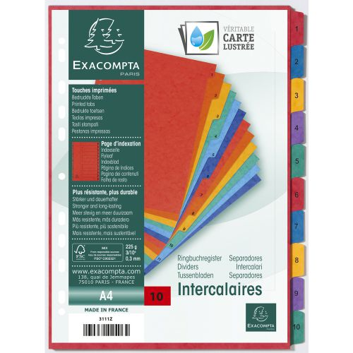 Exacompta Europa Coloured Pressboard Index 1-10 A4 3111Z