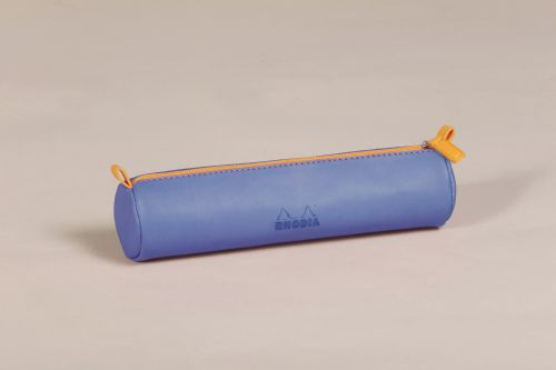 Rhodiarama Round Pencil Case Italian Leatherette Sap Blu