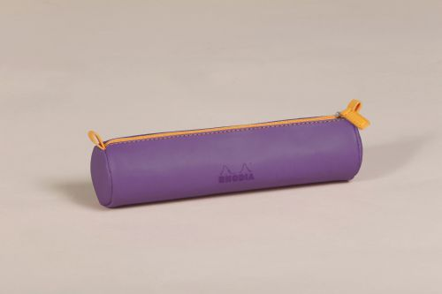 Rhodiarama Round Pencil Case Italian Leatherette Purple