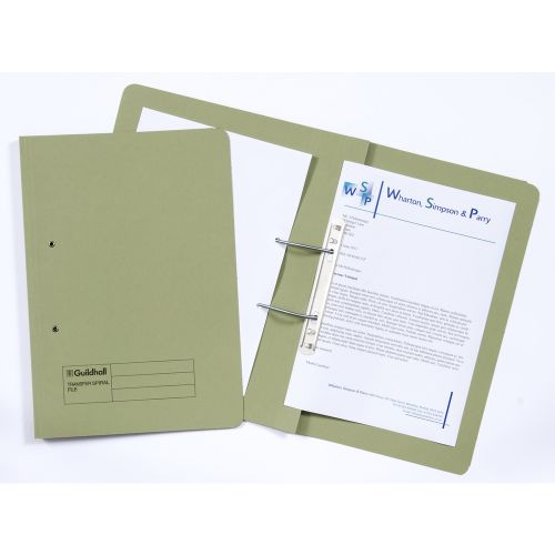 Guildhall Transfer Spring Files Heavyweight 315gsm Foolscap Green Ref 348-GRNZ [Pack 50]