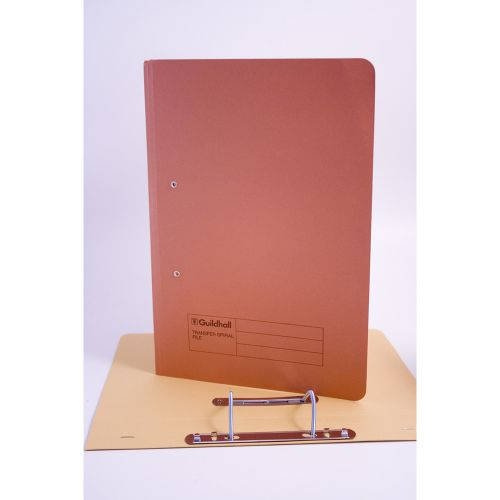 Exacompta Guildhall Transfer Spiral File 315gsm Foolscap Orange (Pack of 50) 348-ORG
