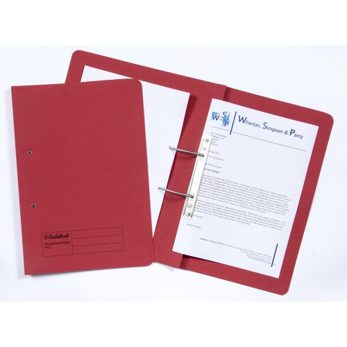 Guildhall Transfer Spring Files Heavyweight 315gsm Foolscap Red Ref 348-REDZ [Pack 50]