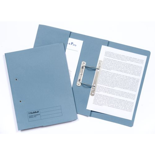 Guildhall Transfer Spring Files with Inside Pocket 315gsm 38mm Foolscap Blue Ref 349-BLUZ [Pack 25]