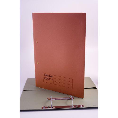 Exacompta Guildhall Transfer Spiral Pocket File 315gsm Foolscap Orange (Pack of 25) 349-ORG